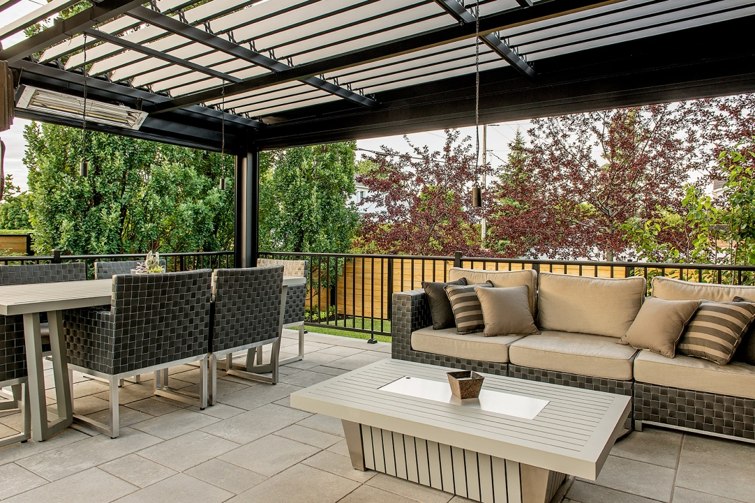 Sun Louvre pergolas, outdoor living room with stone patio