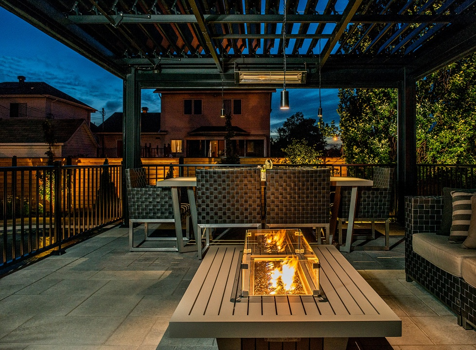 fireplace outdoor living area