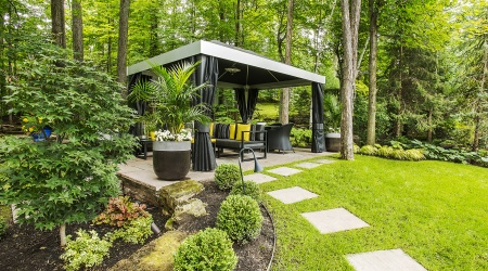 Landscaping with gazebo in the forest