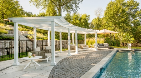 Backyard with pergola, wooden structure, terrace and swimming pool