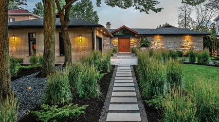 House facade slab path with mood lighting