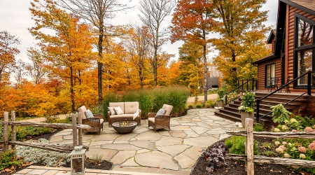 Stone terrace, autumn relaxation area in the countryside